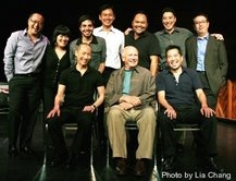 NAATCO's LOVE! VALOUR! COMPASSION! benefit reading at the Cherry Lane Theater in New York on September 14, 2009. (L-R back row) Director Alan Muraoka, Ann Harada, Satya Bhabha, Joel de la Fuente,Orville Mendoza, James Yaegashi, Ralph Pena, (L-R seated) Fr