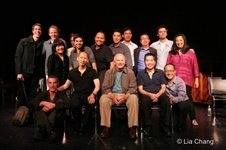NAATCO's LOVE! VALOUR! COMPASSION! benefit reading at the Cherry Lane Theater in New York on September 14, 2009. (L-R back row) Joseph Thalken, Stephen Bogardus, Joe Mantello Ann Harada, Satya Bhabha, Joel de la Fuente,Orville Mendoza, James Yaegashi, Ral
