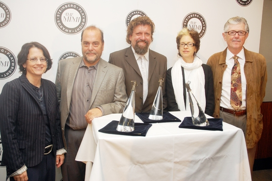 Polly K. Carl, Eduardo Machado, Oskar Eustis, Martha Lavey, and David Emmes at Steinberg Playwright Award Winners Announcement Press Conference