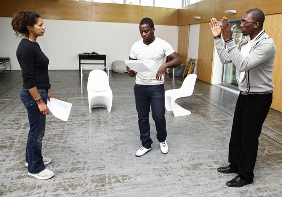 Jaye Griffiths, Kobna Holdbrook-Smith and Kwame Kwei-Armah at Tricycle's SEIZE THE DAY Rehearsal