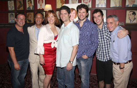 Director Michael Greif, costume designer Jeff Mahsie, Alice Ripley, composer Tom Kitt, cast members Louis Hobson, Adam Chanler-Berat and producer David Stone