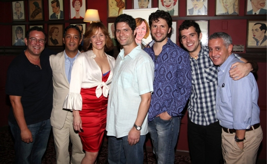 Director Michael Greif, costume designer Jeff Mahsie, Alice Ripley, composer Tom Kitt, cast members Louis Hobson, Adam Chanler-Berat and producer David Stone