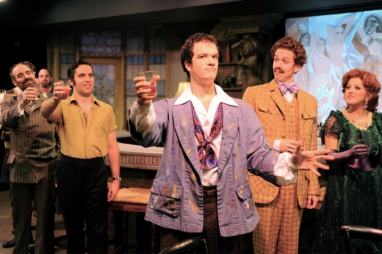 Andrew Milbourn, Paul Taylor, Eric Dobbins, Daniel Fredrick, and Elizabeth Annunziato at PICASSO AT THE LAPIN AGILE  Ends Its Run At Circle Theatre On 10/24
