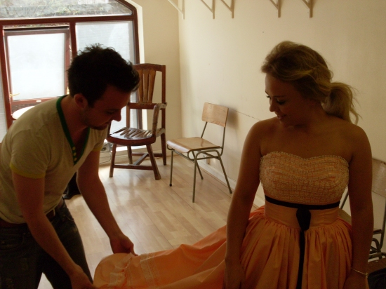 Director Ian MacFarlane with Sophie Isaacs (Toffee)
