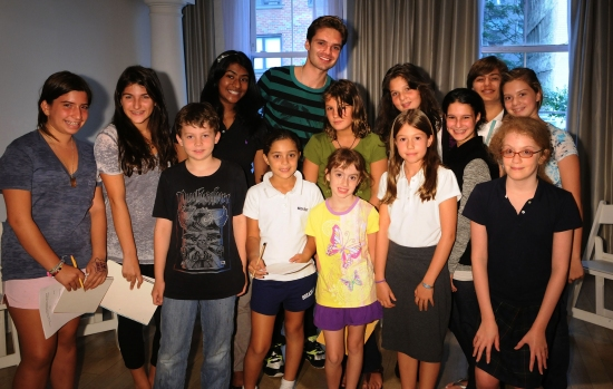 Sebastian Stan and the students of Applause NYC at Gossip Girl's Sebastian Stan Visits Applause NYC