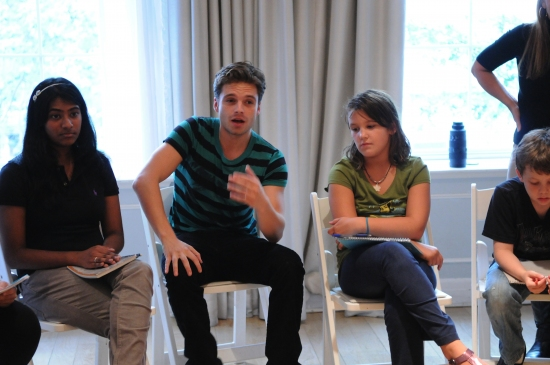 Young talent listen as Sebastian Stan speaks about acting at Gossip Girl's Sebastian Stan Visits Applause NYC