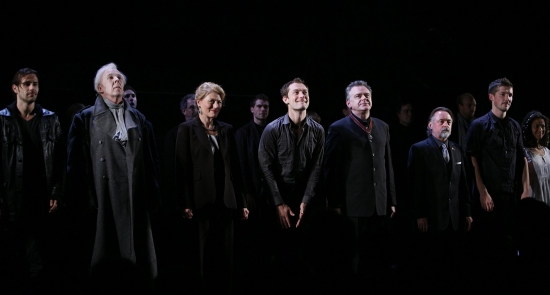 Matt Ryan, Peter Eyre, Geraldine James, Jude Law, Colin Haigh, Kevin R. McNally, Gwilym Lee, and Gugu Mbatha-Raw at 'HAMLET' Starring Jude Law - Opening Night Curtain Call