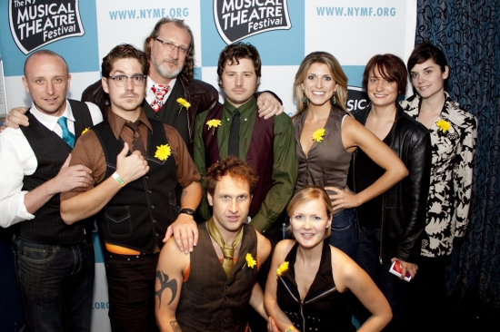 Nick Demos, Matthew Alvin Brown, Jefferson Slinkard, Nathan Siler, Kevin Kajetzke, Jaime Buxton, Jenine Divita, Jennyn Lang and Katie Rayle at NYMF 2009 - Cast and Creative Teams 'Party Down'