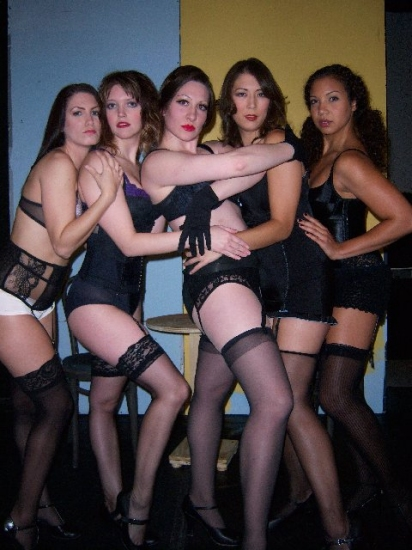 Krystal Heib as Rosie, Amanda Logan as Helga, Laura Jacobs as Sally Bowles, Jennie Williams as Frenchie and Ayla Glass as Lulu