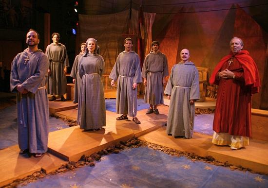 Rob Maitner (Elias), Samuel Berwin (Bernardo), Alex Yacovelli (Juniper), Mary Catherine McDonald (Clare), Robert A. Felbinger (Francesco), John Weigand (Faverone), Charles Karel (Cardinal).