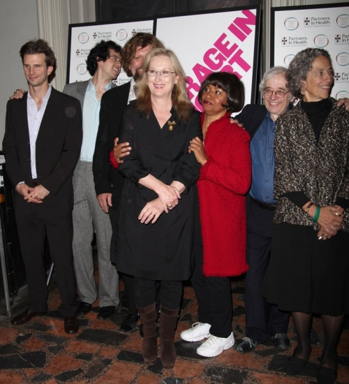 Frederick Weller, Geoffrey Arend, Oskar Eustis, Meryl Streep, Jenifer Lewis,, Austin Pendleton and Ruth Messinger at COURAGE IN CONCERT One-Night-Only Benefit Performance at The Public Theater