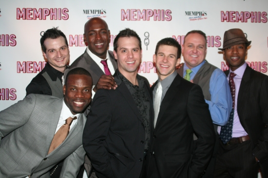 Bryan Fenkart, Rhett George, John Eric Patrick, Brad Bass, Charlie Williams, Kevin Covert and Jermaine R. Rembert at MEMPHIS on Broadway at the Shubert Theatre - Opening Night Party