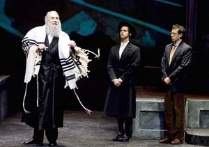 Corey Fischer as Reb Saunders, Thomas Gorrebeeck as Danny Saunders and Jonathan Bock as young Reuven Malter