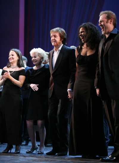 Emily Loesser, Jo Sullivan Loesser, Paul McCartney, Audra McDonald and Marc Kudisch