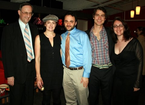 Victor L. Cahn, Keira Naughtom, director Eric Parness (with beard), Scott Barrow and producer Rachel Reiner.