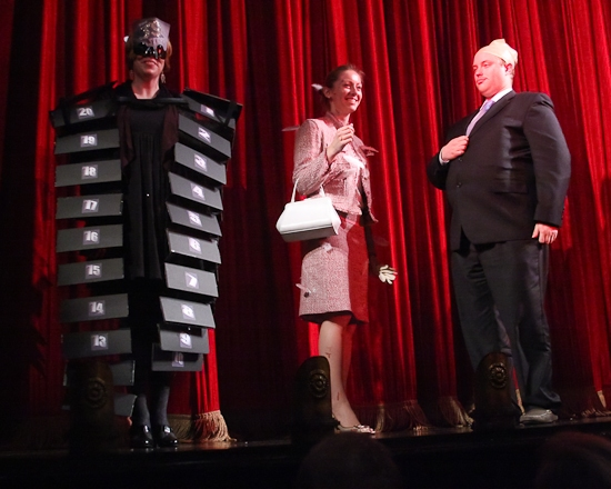 Contestants Tara Kennedy as 'The 39 Steps', Stephanie Tupper as 'Tippi Hedren', and Rob Hill as 'Hitchcock'
