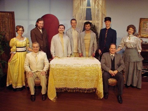 "Abbey Molyneux (as ""Marie Louise Ducotel""), Will Hare (as ""Paul"" - seated), Joshua Harris (as ""Henri""), Brendan Hutt (as ""Joseph""), Evan Voboril (as ""Jules""), Jacob Alexander (as ""Alfred""), Daniel Byshenk (as ""Lieutenant""), Mike Weaver and Barb Stasiw"