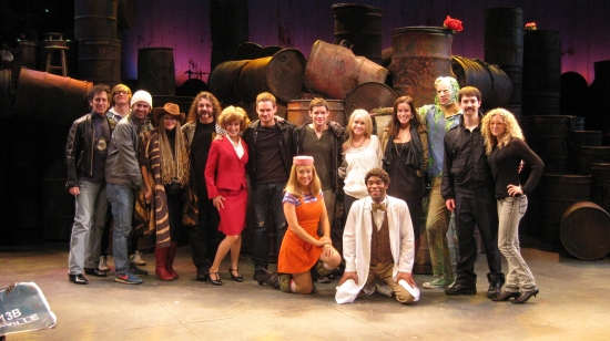 Alan Childs, Eric Day, Chris D'Arienzo, Michele Mais, Doug Katsaros, Erin Leigh Peck, Jeremy Woodard, Jeremy Jordan, Becca Tobin, Katherine Tokarz, Nick Cordero, Jonathon Root, front row Diana DeGarmo, Demond Green and Lauren Molina