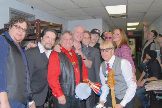 Ted Baker, Angel Rissoff, Eddie Brigati, Donnie Kehr, Gene Cornish, Paul Shaffer, Will Lee at ROCKERS ON BROADWAY - Arrivals and Backstage