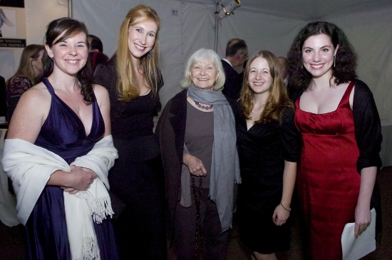 Stephanie Coulombe, Jenn Bond, Ms. Woodward, Kim Furano and Alex Burke around Joanne Woodward