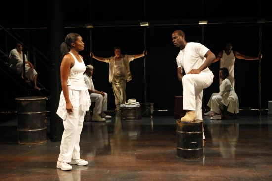 Kianne Muschett, Sterling K. Brown, and the company at THE BROTHER/SISTER PLAYS at The Public Theate