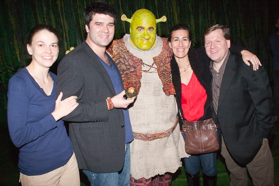 Sutton Foster, Brian d'Arcy James, Jeanine Tesori, and David Lindsay-Abaire
