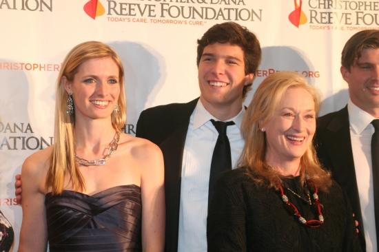 Matthew Reeve, Alexandra Reeve Givens, Will Reevwa and Meryl Streep