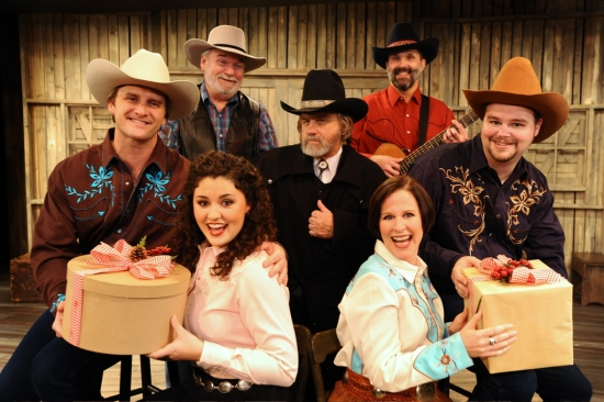 John Venable, Burl Proctor, Jeff McGee, Gary Moody, Gary Taylor, Rachel Rice and Heatherton H. Wilson at Circle Theatre's A LONE STAR CHRISTMAS CAROL