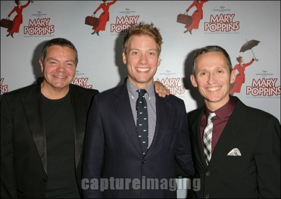 Anthony Drewe, Barrett Foa, and George Stiles at MARY POPPINS Ahmanson Theatre Opening