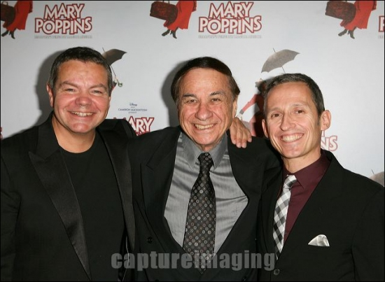 Anthony Drewe, Richard Sherman, and George Stiles at MARY POPPINS Ahmanson Theatre Opening