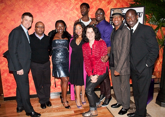 (Clockwise-L) Sean Allan Krill, Robert O'Hara, Heather Alicia Simms, Tarell Alvin McCraney, Brian Tyree Henry, Marc Damon Johnson, Tina Landau and Kimberly Herbert Gregory at THE BROTHER/SISTER PLAYS Open at the Public