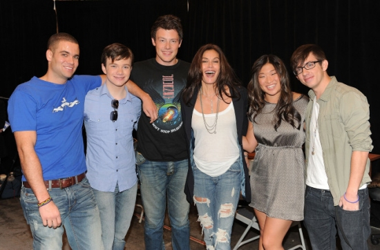 Mark Salling, Chris Colfer, Cory Monteith, Teri Hatcher, Jenna Ushkowitz and Kevin McHale at The GLEE Cast CD Signing at LA's The Grove