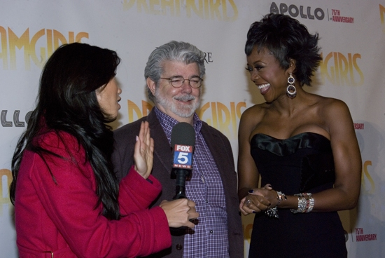 George Lucas and Mellody Hobson talking to cameras
