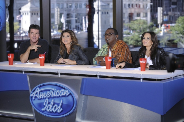 Simon Cowell, Kara DioGuardi, Shania Twain and Randy Jackson at Chenoweth, Harris & More - AMERICAN IDOL Guest Judges Sneak Peek