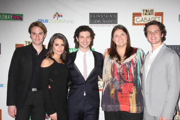 Van Hansis, Lea Michele, Adam Wachter (Musical Director), Jenny Kanelos (Broadway Impact Co-Founder) and Jonathan Groff