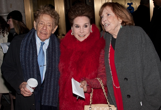 Jerry Stiller, Cindy Adams, and Anne Meara at Opening Night of RACE on Broadway- Starry Red Carpet Arrivals