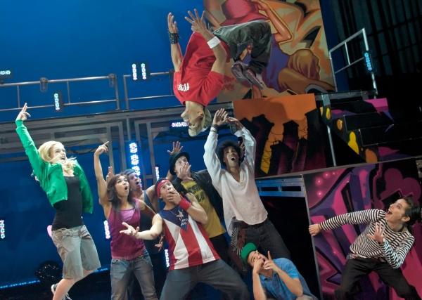 Ivan Valez (in the air) with Caity Lotz, Galen Hooks, Jaime Burgos, Richard Vazquez, John Nelson, Braldey Rapier, Luigi Rosado, Jessica Rabone