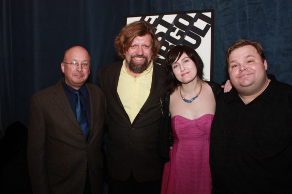 Andrew D. Hamingson, Oskar Eustis, Jean-Michele Gregory, and Mike Daisey