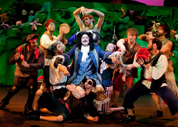 George Roth* (center) as Captain Hook and the Pirates at Peter Pan at the Beck Center for the Arts