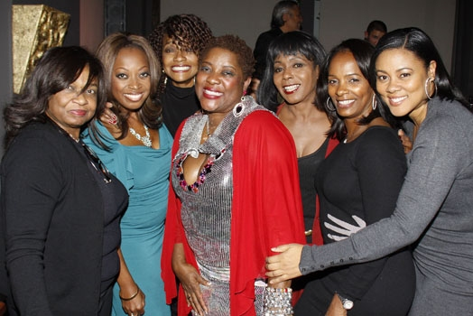 Hattie Winston, Star Jones, friend, Loretta Devine, friend, Vanessa Bell Calloway and Lela Rechon at Upright Cabaret