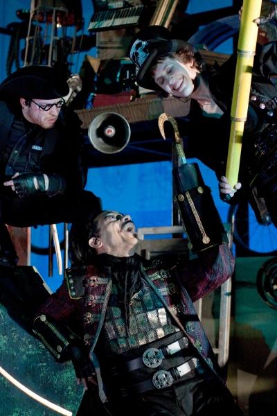 L-R: David J. Sweeny as Smee, Frank X as Captain Hook and Sarah Sanford as Starkey