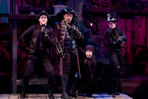 L-R David J. Sweeny as Smee, Frank X as Captain Hook, Bi Jean Ngo as Bill Jukes and Sarah Sanford as Starkey
