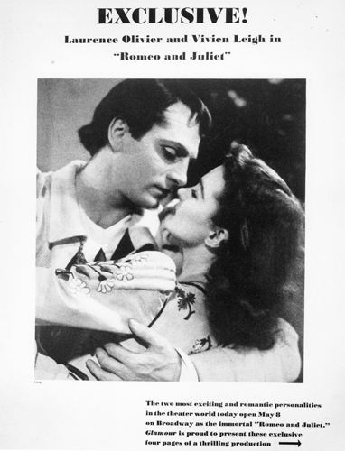 A poster for the 1940 Geary Theater production of Romeo and Juliet starring Laurence Olivier and his wife, Vivien Leigh