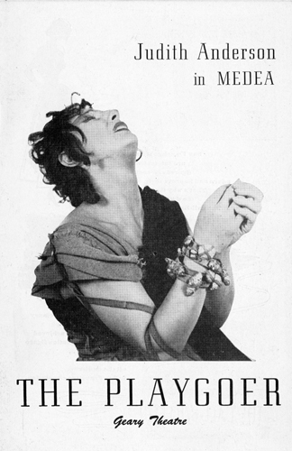 The program cover for the 1948 Geary Theater production of Medea, starring Judith Anderson in her most famous stage role, which earned her the Tony Award for Best Actress.