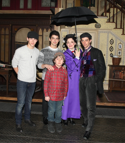 Joe Jonas, Nick Jonas, Frankie Jonas, Laura Michelle Kelly, and Christian Borle