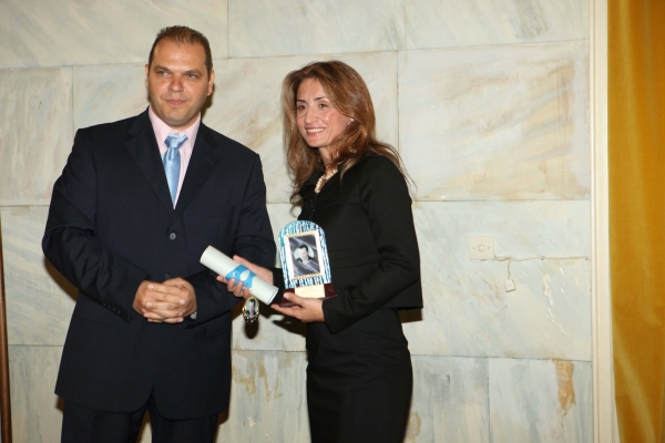 The Director of the Museum of Marathon, Greece received a special award for her contribution in athelics presented by the President of the foundation in Greece, Mr. Nikolaos Kostakos.