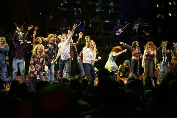 Megan Lawrence, Darius Nichols, Kacie Sheik, Sasha Allen, Gavin Creel, Will Swenson, Caissie Levy & Bryce Ryness with James Rado during the Opening Night Performance Curtain Call for HAIR: THE AMERICAN TRIBAL LOVE-ROCK MUSICAL at the Al Hirschfeld Theatre at Photos: 2009 Curtain Call Flashback