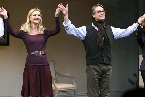 Joan Allen and Jeremy Irons during the Opening Night Performance Curtain Call for IMPRESSIONISM at the Schoenfeld Theatre