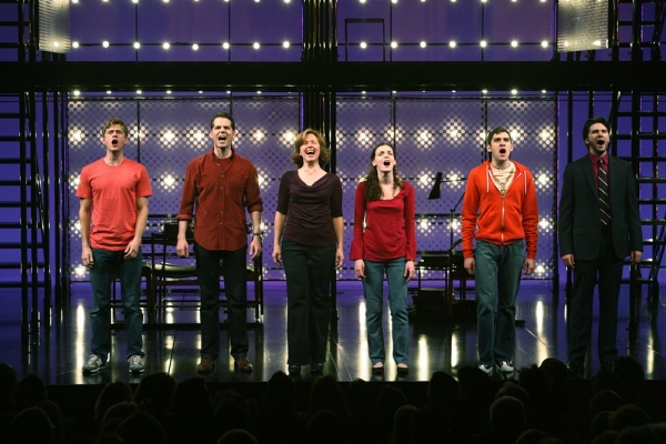 Aaron Tveit, J. Robert Spencer, Alice Ripley, Jennifer Damiano, Adam Chandler-Berat, Louis Hobson during the Broadway Opening Night Performance Curtain for 'NEXT TO NORMAL' at Photos: 2009 Curtain Call Flashback