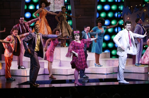 Dwayne Cooper, Marissa Jaret Winokur, Constantine Rousouli during the final performance curtain call for HAIRSPRAY ( The winner of Eight Tony Awards, finishing it's run of 2.641 performances as the 19th Longest-running show in Broadway History ) at the Ne